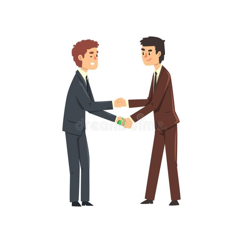 Övergående kontanta pengar för affärsman till hans fördärvade partner, korruption och illustration för bestickningbegreppsvektor stock illustrationer