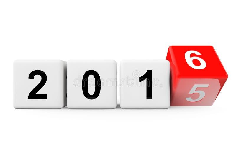 Övergång från året 2015 till 2016 stock illustrationer
