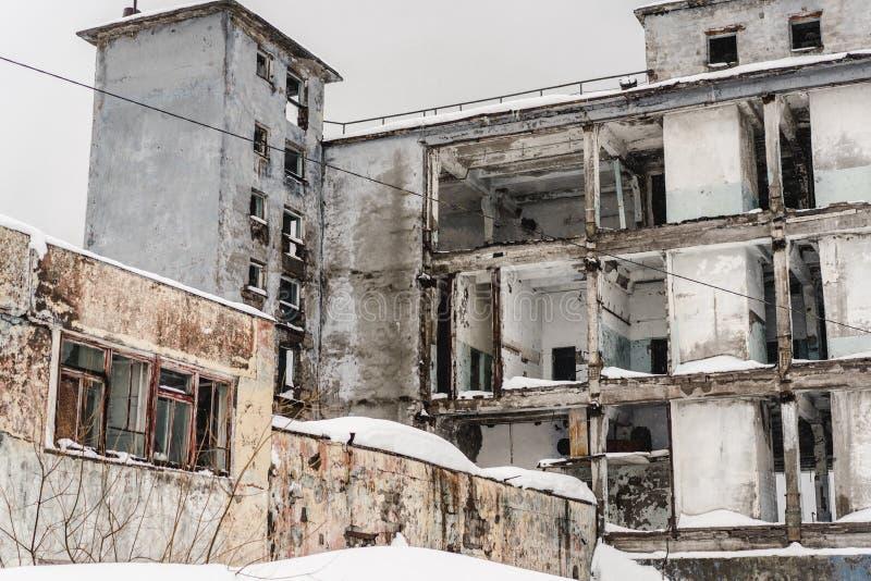 Övergav byggnader i Kamchatka arkivbild