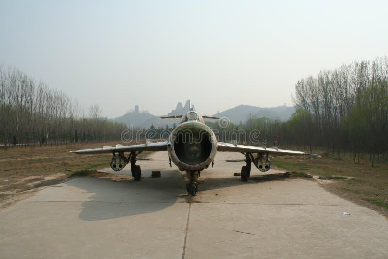 Övergav fem jaktflygplan för utställning i det turist- området av Yellowet River, Kina royaltyfri foto