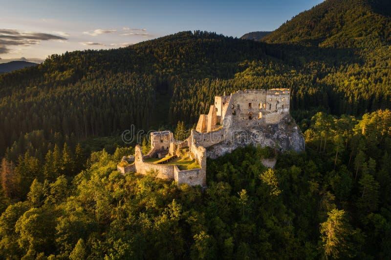 Övergett fördärvar av en medeltida slott i skogen royaltyfri fotografi