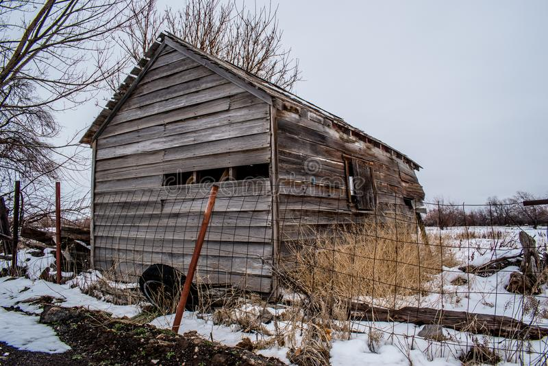 Övergett gammalt skjul i snöig fält arkivfoton