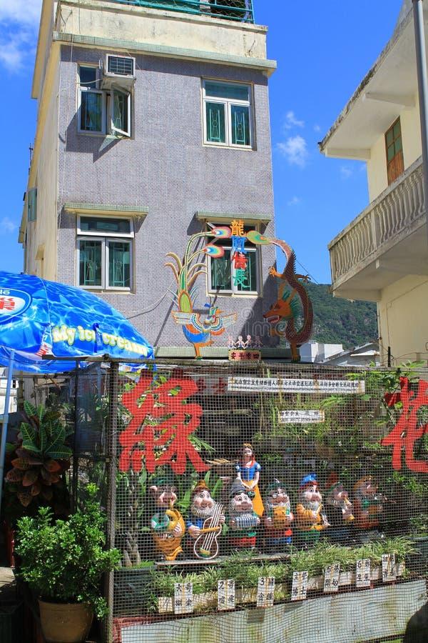 Övergett hus i kinesisk fiskelägeTai-nolla, Hong Kong arkivbilder