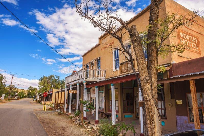 Övergett Wortley hotell på turkosslingan i Los Cerrillos som är ny - Mexiko royaltyfri fotografi