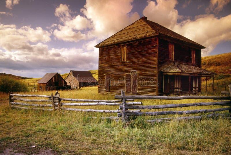Övergiven bondgård på den sista dollarvägen nära Ouray Colorado royaltyfri fotografi