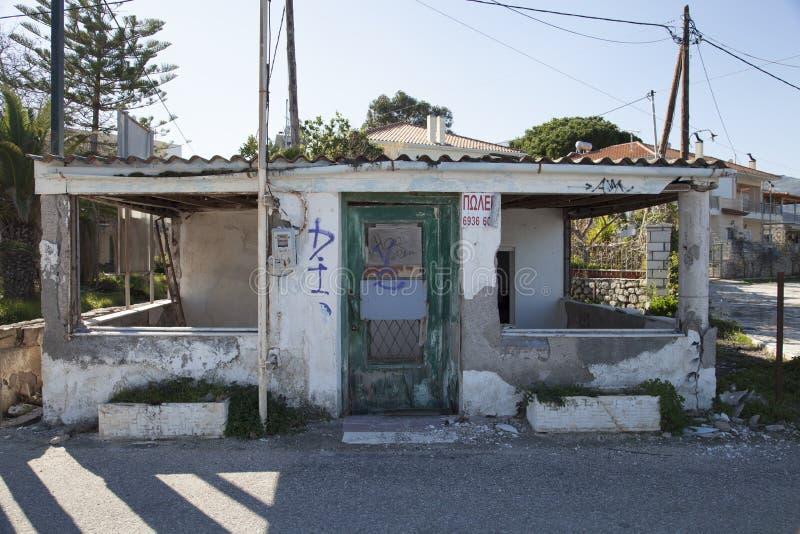 Övergiven byggnad, Grekland, 2016 arkivbild