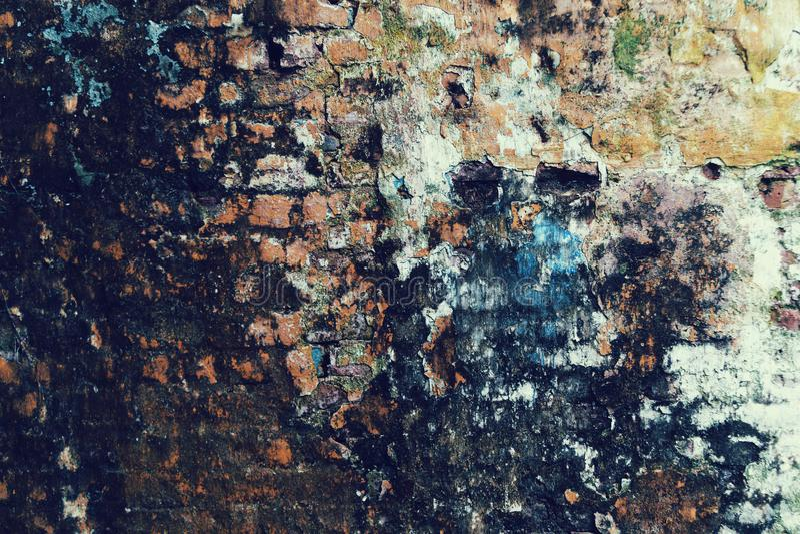 Övergiven för tegelstenstuckatur för grunge sprucken bakgrund för vägg arkivfoton