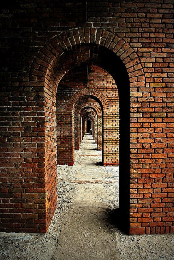 Övergiven gång av fortet arkivfoto