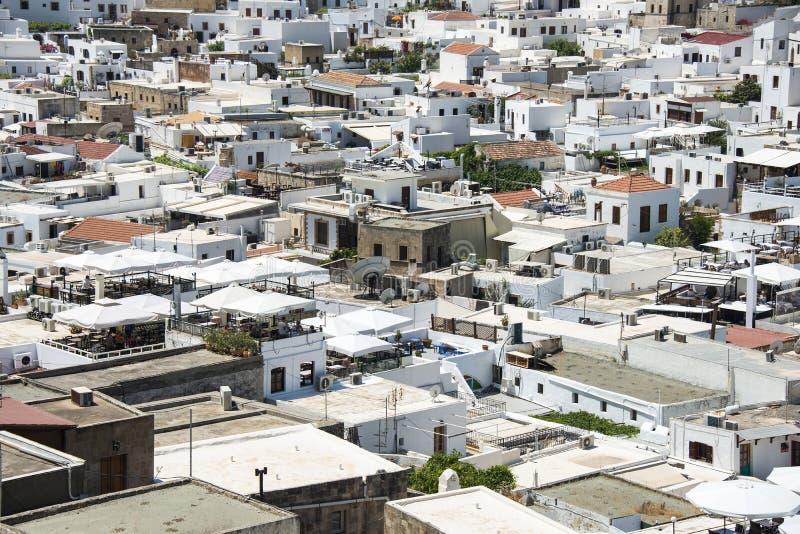 Övergiven lido på Rhodes, Grekland royaltyfri fotografi