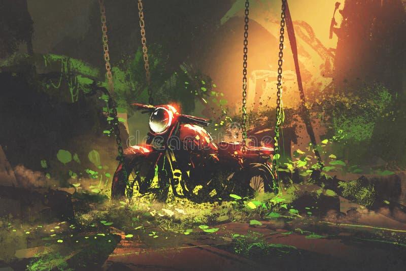 Övergiven rostig moped i bevuxen vegetation vektor illustrationer
