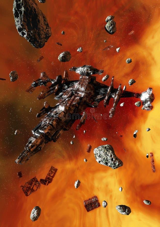 övergiven spaceship royaltyfri illustrationer