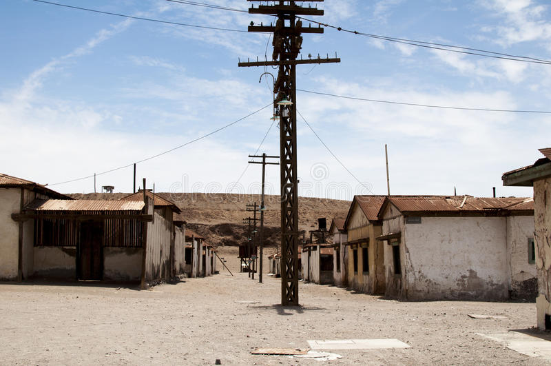 Övergiven stad - Humberstone, Chile arkivfoto