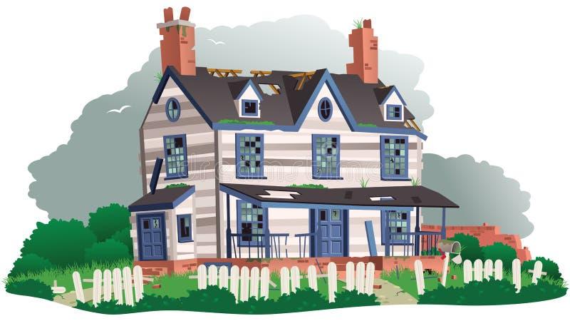 övergivet hus vektor illustrationer