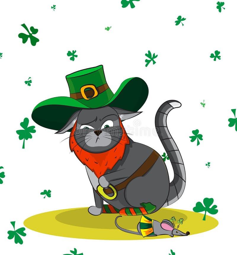 Överkänslig katt som kläs som ett troll och en mus i en karnevaldräkt Dag för affischSt Patrick ` s arkivfoto