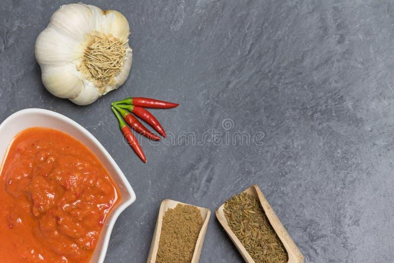 Överkänslig vy av Harissa Sauce med ingredienser arkivfoto