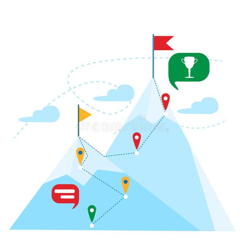 Överkant av berget med den röda flaggan begrepp för affärsledarskapframgång stora liggandebergberg vektor illustrationer
