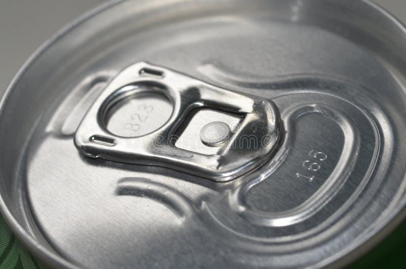Överkant av den stängda Aluminium canen Ring Pull arkivfoto