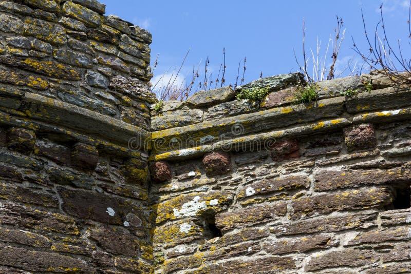 Överkant av den yttre väggen av det Bayard's liten vikfortet, med blå himmel; Flodpil, Dartmouth, Devon, England royaltyfria bilder