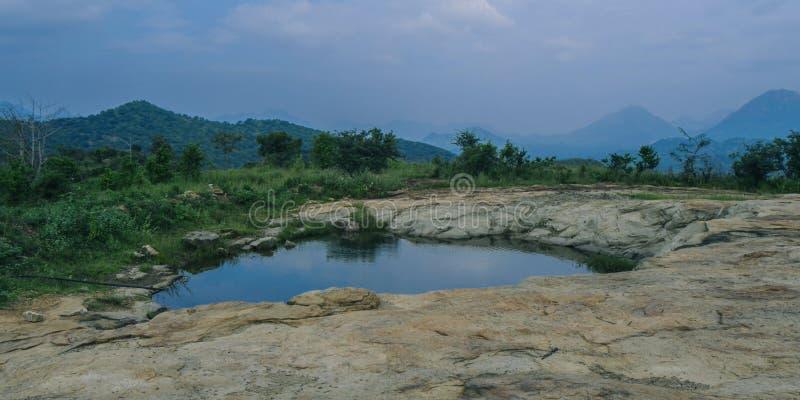 överkant av en kulle och blickar på sjön Förbluffa sikten av sjön och träden på bergen arkivbild
