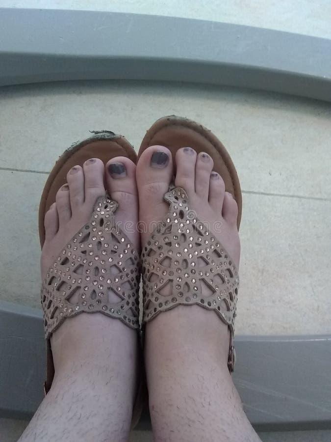 Överkant av foten i sandaler royaltyfri bild