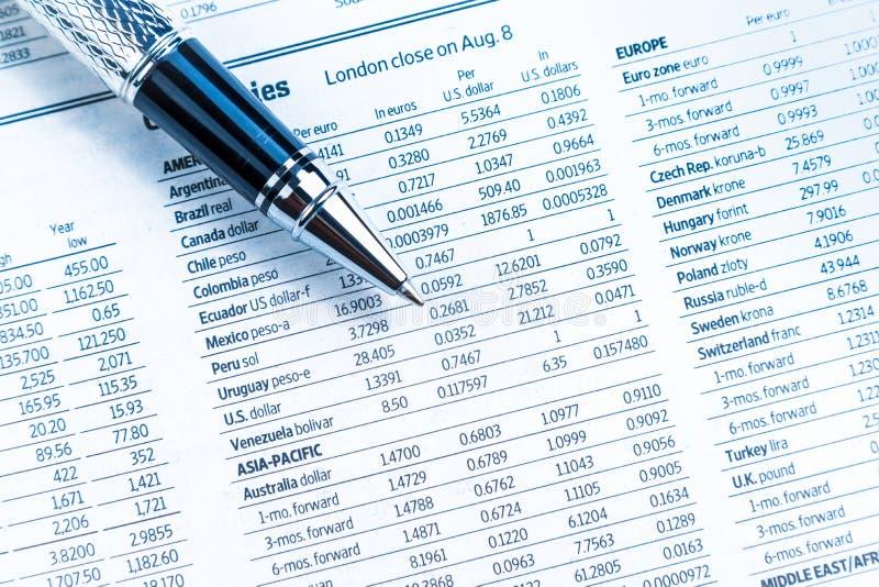 Överkant av sikten av den finansiella affärspennan på valutatidningen arkivfoton