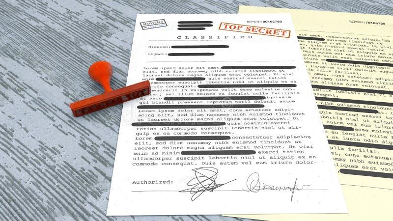 Överkant - hemligt dokument, stämpel, offentliggjord förtrolig information, hemlig text Icke-allmänhet information stock illustrationer