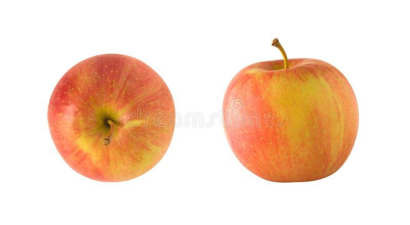Överkant- och sidosikter av det hela röda och gula äpplet arkivfoton