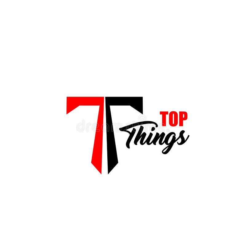 Överkanten tings symbolen för T-bokstavsvektorn stock illustrationer
