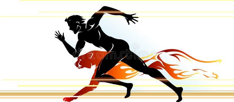 Övermänsklig hastighetslöpare stock illustrationer
