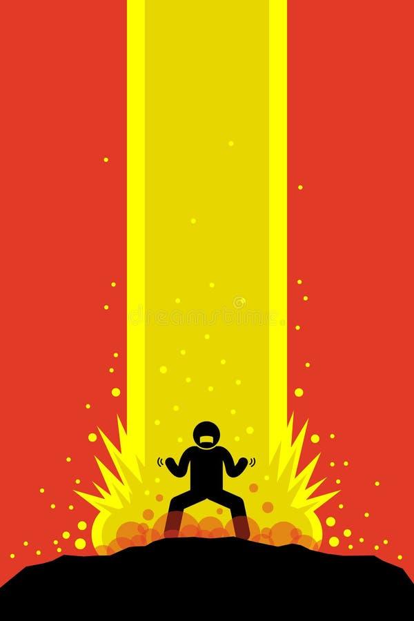 Övermänsklig uppladdning för Superhero upp toppen makt stock illustrationer