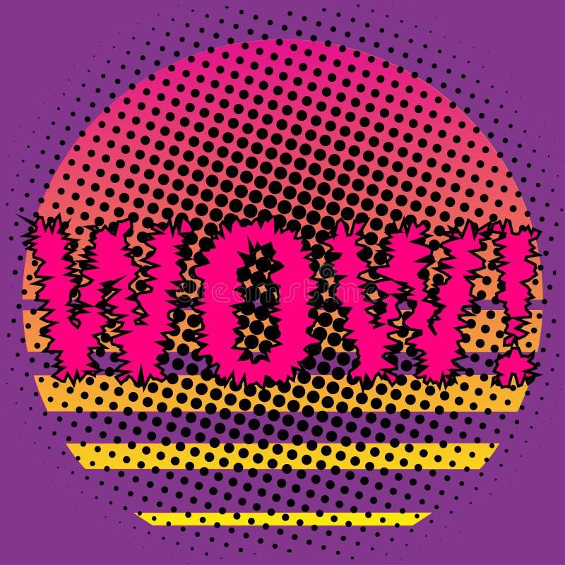 ÖVERRASKA! bokstäver för popkonst Symbol av plan stil och rastrerad effekt, ljusa neonfärger Vektorillustration f?r banret, affis royaltyfri illustrationer