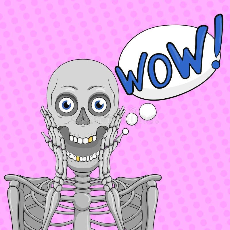 ÖVERRASKA! bubbla sinnesrörelse Skelett med den öppna munnen vektor vektor illustrationer