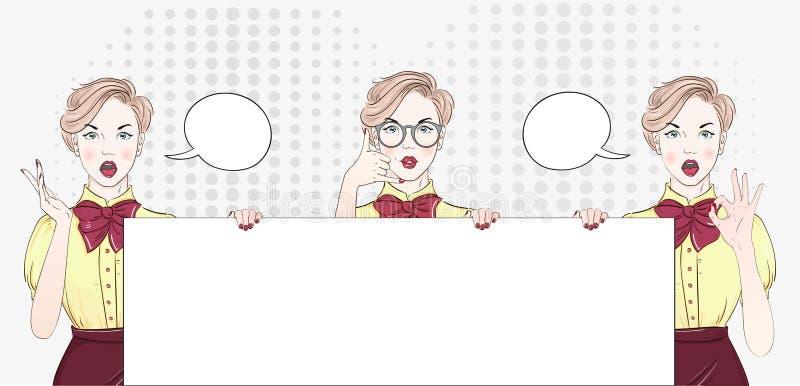 Överraska den kvinnliga framsidan för popkonst Sexig förvånad ung kvinna i exponeringsglas med den öppna munnen och svart hår och vektor illustrationer