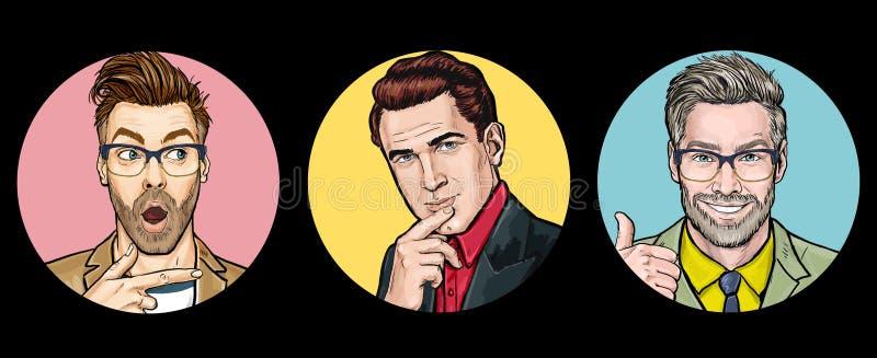 Överraskade män med färgade bakgrunder. Suveräna lyckliga män. M?nskliga sinnesr?relser, ansiktsuttryckbegrepp. f?rs?ljning.  arkivbilder