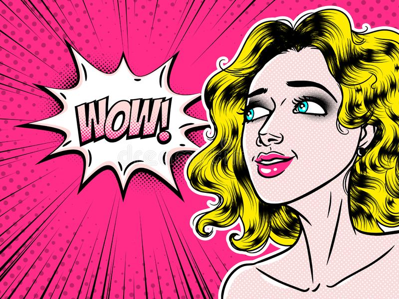 Överraskar säga för ung kvinna för komisk stil härligt i anförandebubblan, flickan för popkonst, annonseringen, vektorillustratio royaltyfri illustrationer