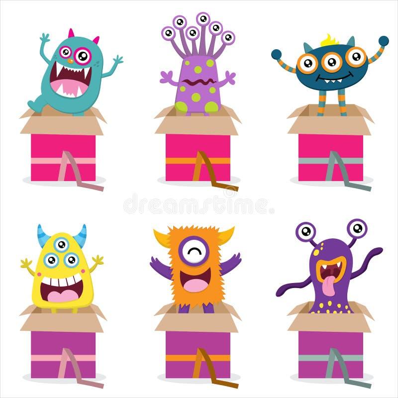 Överraskning från gulligt monster royaltyfri illustrationer