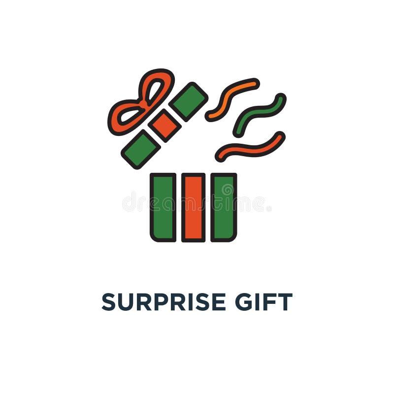 överraskninggåvasymbol öppnad vit ask med bandet, design för symbol för designbegrepp, bästa gåva, toppet pris, special händelse stock illustrationer