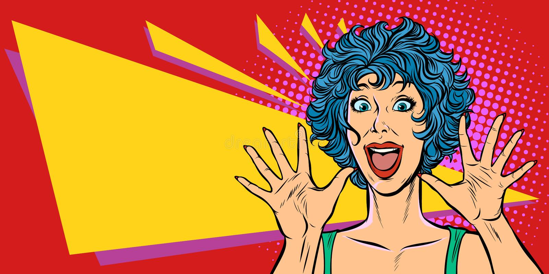 Överraskningkvinna, 80-tal för kvinna för stil för popkonst vektor illustrationer