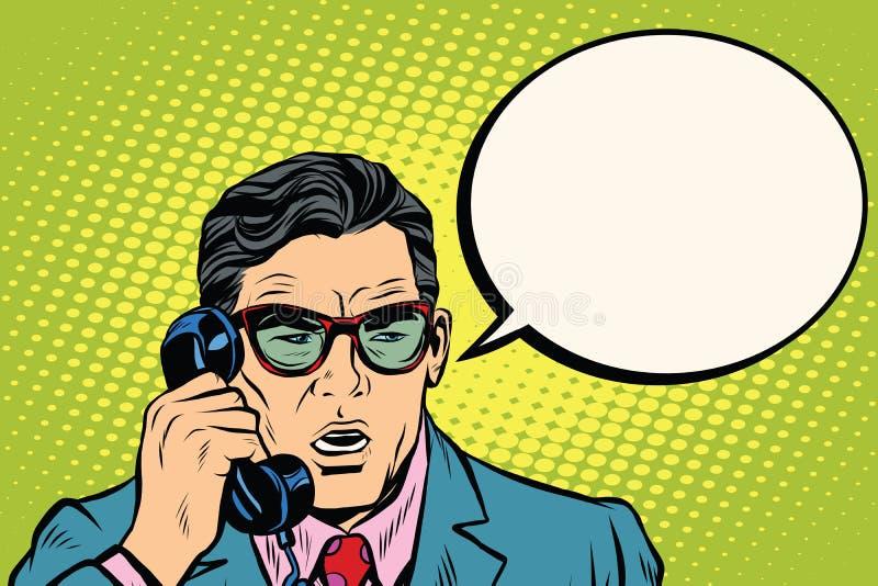 överrrakning Affärsman som talar på telefonen royaltyfri illustrationer