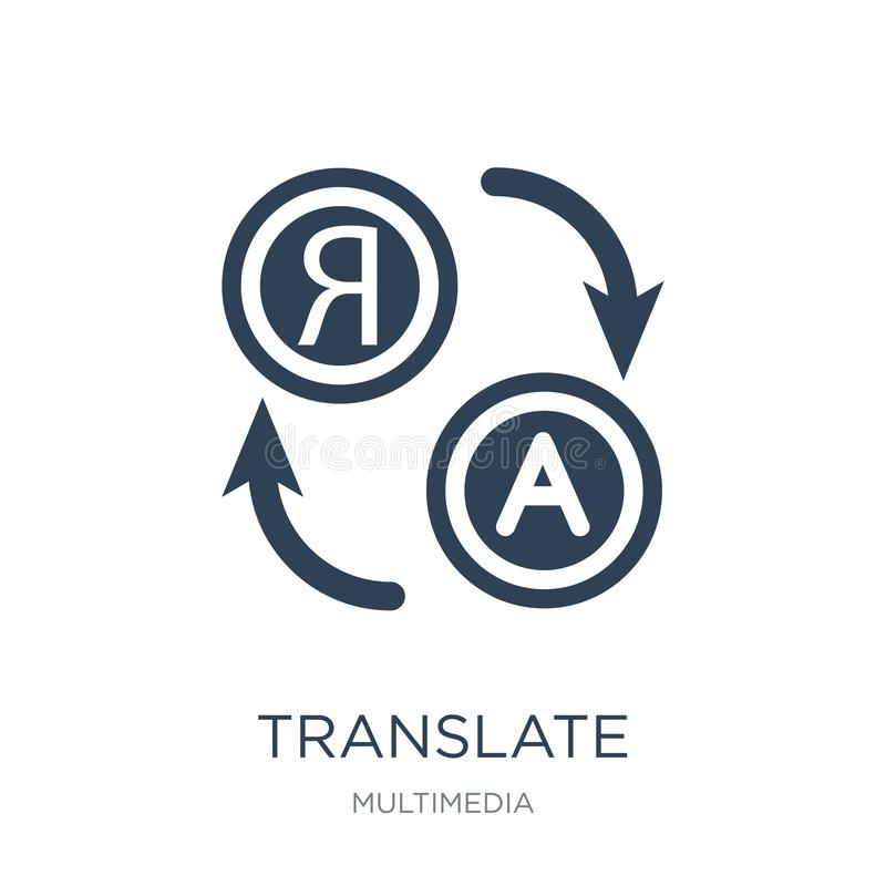 översätt symbolen i moderiktig designstil översätt symbolen som isoleras på vit bakgrund översätt den enkla och moderna lägenhete stock illustrationer