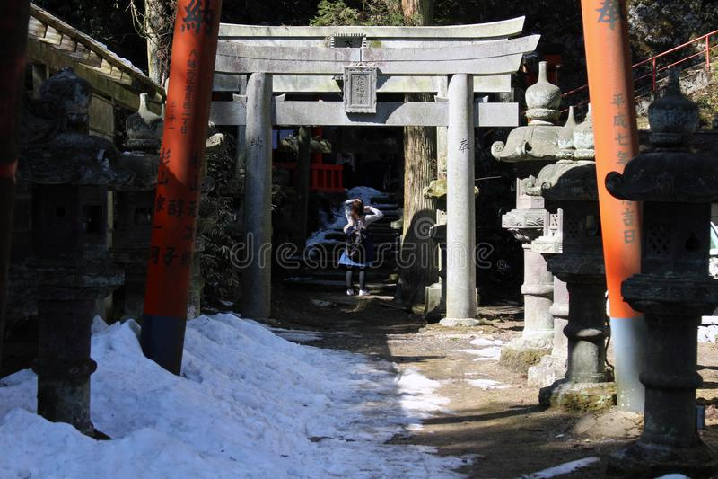 Översättning: ` Den Omikuji för ` för bönpappers` `en på Atago Jinja royaltyfri foto