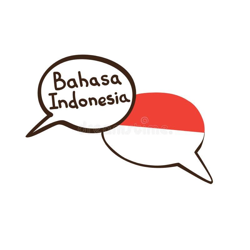 Översättning: Indones Vektorillustrationen av handen dragit klotteranförande bubblar med en nationsflagga av Indonesien och handw royaltyfri illustrationer