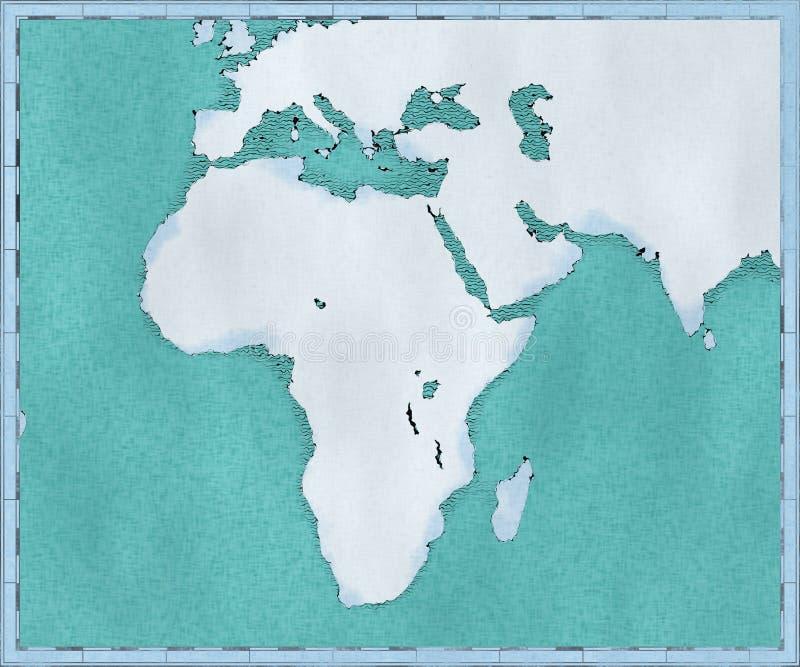 Översikt av Afrika, drog illustrerade borsteslaglängder, geografisk översikt, fysik Kartografi geografisk kartbok royaltyfri illustrationer