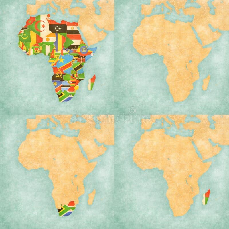Översikt av Afrika - länder för flaggor allra, tom översikt, Sydafrika och Madagascar royaltyfri illustrationer