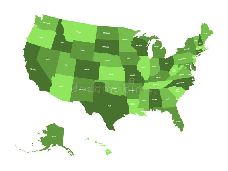 Översikt av Amerikas förenta stater, USA, i fyra skuggor av gräsplan med vittillståndsetiketter Enkel plan vektorillustration stock illustrationer