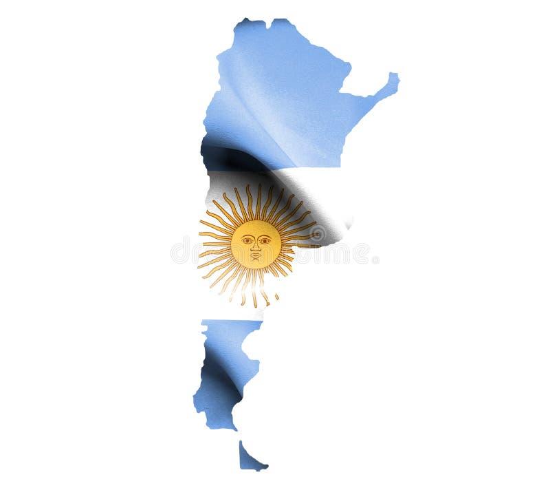 Översikt av Argentina med den vinkande flaggan som isoleras på vit stock illustrationer