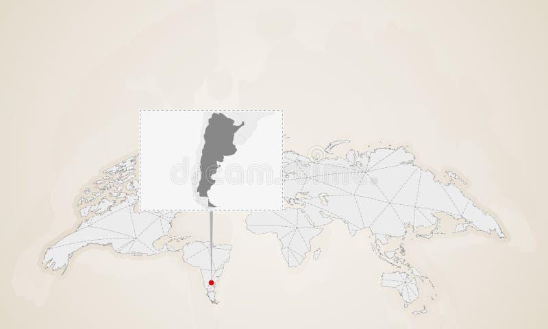 Översikt av Argentina med gränsa till länder som klämmas fast på världskarta vektor illustrationer
