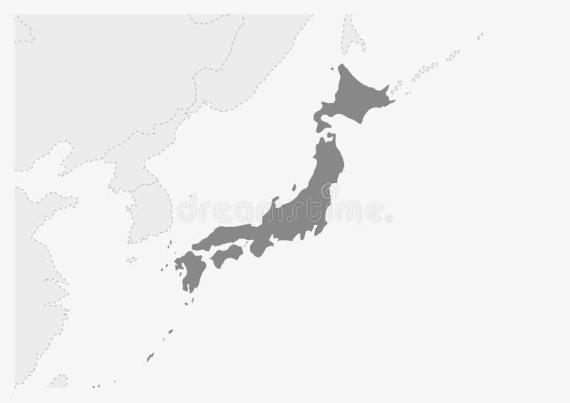 Översikt av Asien med den markerade Japan översikten royaltyfri illustrationer