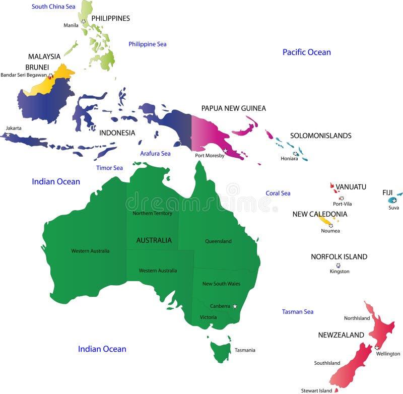 Översikt av Australien stock illustrationer