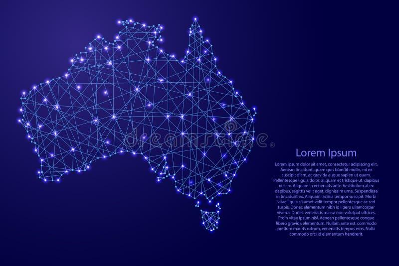Översikt av Australien från polygonal blålinjen, glödande stjärnaillustration royaltyfri illustrationer